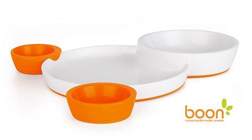 【Boon】ブーン*Groovy*インタロッキングプレート&ボウルセット(オレンジ)