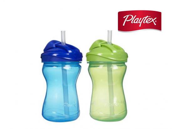 【Playtex】 Twist'n Click! *漏れないストローボトル(ブルー/グリーン)