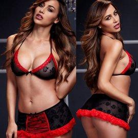立体のバラ♪ 黒×赤 ブラ&ミニスカート&Tバック 3点セット