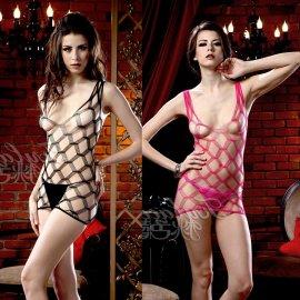 大きな網のミニドレス ブラック・ピンク