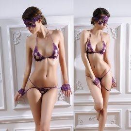 アイマスク&手かせ付き☆ 刺繍レースのオープンバストブラ&オープンクロッチVバック 紫