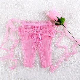 【訳ありA】一輪の薔薇のオープン紐パンティ ピンク