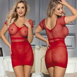 網デザイン タイトでセクシーなミニドレス 赤