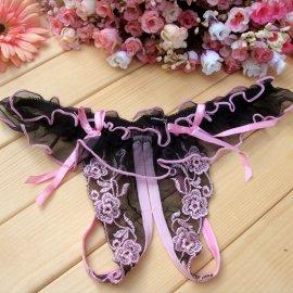 フリルとリボン付き 刺繍がキレイなオープンTバック ライトピンク