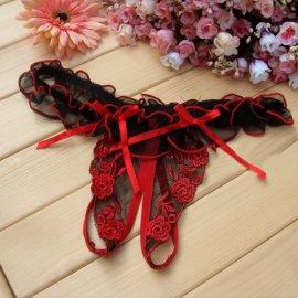 フリルとリボン付き 刺繍がキレイなオープンTバック 赤