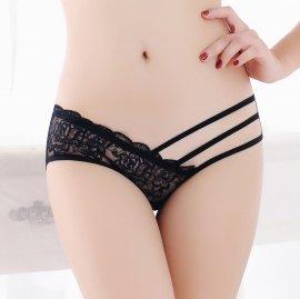 シースルーフルバックショーツ フラワー刺繍&ストリング 黒