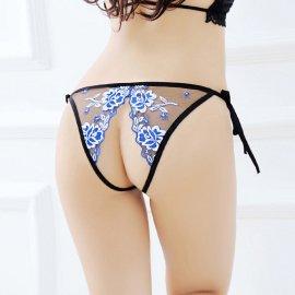 オープン紐パンティ シースルーに花の刺繍入り 青