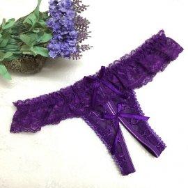 フリル&リボン付き♪ パックリオープンTバック 紫