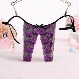 パックリオープン♪ キレイな刺繍の紐Tバック 紫