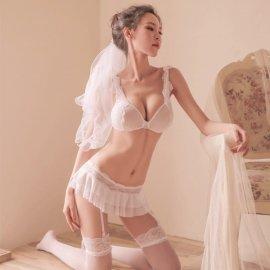 ウェディングコスチューム ブラ&Tバック付きミニスカート&ベール 白