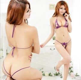 フェイクパール付き☆ 刺繍レースのオープンバストブラ&オープンクロッチVバック 紫