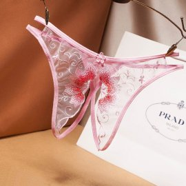 パックリオープン♪ 大きなフラワー刺繍のTバック ライトピンク