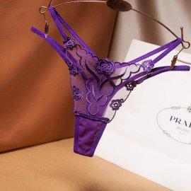 シースルーにバラ刺繍入り サイド2ストリングTバック 紫