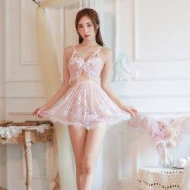 ゴージャス刺繍&レース シースルーベビードール&Tバック ピンク