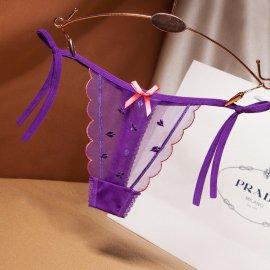 トランプ柄入り♪ ウェーブがキュートな紐パンティー Tバック 紫