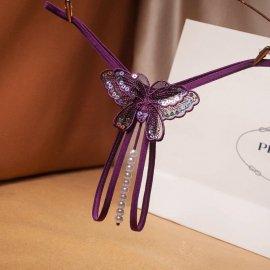 スパンコール付き♪蝶々のパール付きTバック 紫