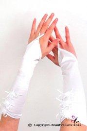 花の飾り付き フィンガーレス ホワイトサテングローブ