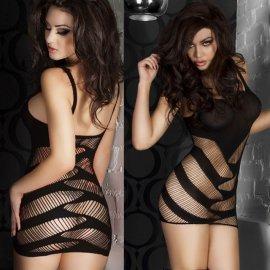 ブラック 斜めカットがセクシーなミニドレス