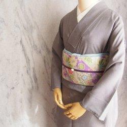 はじめてさんの色無地セット 江戸小紋黒橡(くろつるばみ) × 花みやび紫
