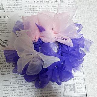 さき編みシュシュ 紫×白×ピンク * dandelion's Gallery