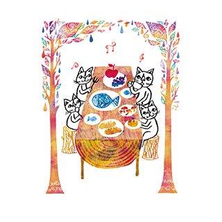 ポストカード【森の秋色レストラン】* おかべてつろう