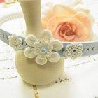清楚な小花とレースのお花のカチューシャ*水色*felicia