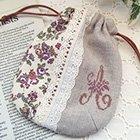 クロスステッチ刺繍のミニ巾着・A * mille fleurs*