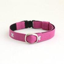 青みピンクにシルバーラメの北欧デザイン猫首輪【CROSS ピンク】