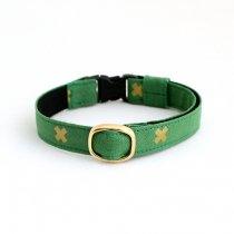 緑×ゴールドラメのおしゃれな配色の猫首輪【CROSS グリーン】