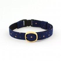 まるで星空!ミッドナイトブルーの星柄猫首輪【STAR 青】