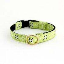 ライムグリーンの花柄猫首輪【Crochet 黄緑(ゴールド)】