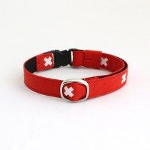 真っ赤な北欧デザイン猫首輪【CROSS レッド】