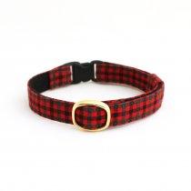 赤と緑のブロックチェックの猫首輪【ブロックチェック赤】