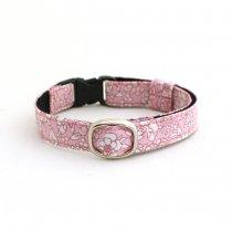 可憐なピンクの花柄猫首輪【フルール】