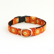 ■再販■フォークロア調花柄の猫首輪【フォークロアオレンジ】