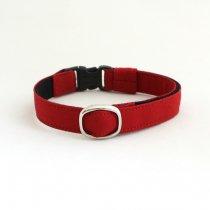 真っ赤なシンプル猫首輪【couleur〔クルール〕 レッド】(シルバーバックル)