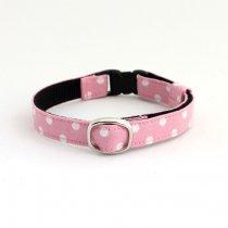ベビーピンク×白のラブリー水玉柄猫首輪【P-dot ベビーピンク】