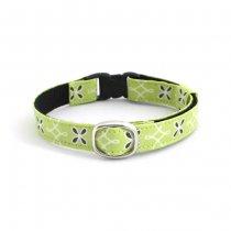 ライムグリーンの花柄猫首輪【Crochet 黄緑】