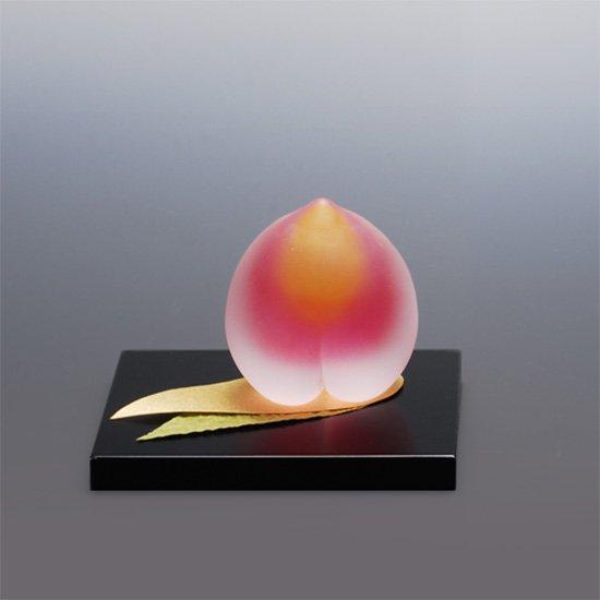 桃飾り 小 ガラスで飾る桃の節句
