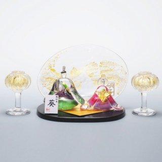 雛絵巻 葵(ガラスのひな人形)【名入れ屏風付き】