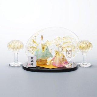 雛絵巻 春令(ガラスのひな人形)【名入れ屏風付き】