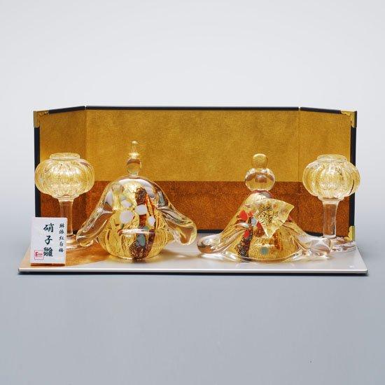 錦雛 紅匂 一段飾りセット(ガラスのひな人形)【送料無料】