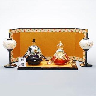 錦雛 紅匂 座 (ガラスのひな人形)【送料無料】