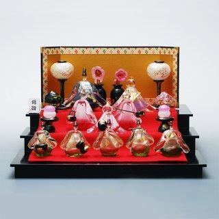 錦雛 うす花桜 三段飾りセット(ガラスのひな人形)【送料無料】