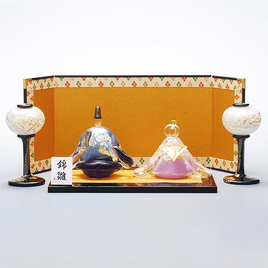 錦雛 うす花桜 座 (ガラスのひな人形)【送料無料】