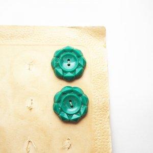 フラワーカットボタン(エメラルドグリーン)