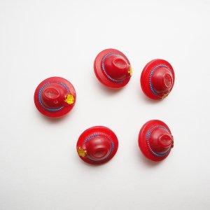 まる帽子ボタン(レッド)