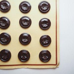 フラワーレリーフボタンS(ブラウン)