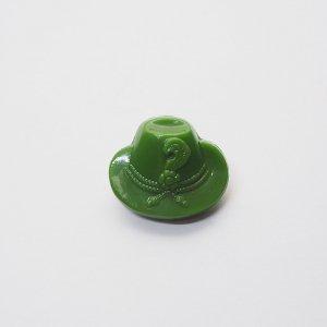 グリーンハットガラスボタン
