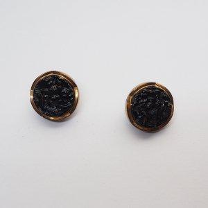 ブラックxゴールドフラワーガラスボタンS